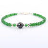 Emerald Gemstone Bracelet With 8 mm Black Diamond Bead, Great Design - ZeeDiamonds