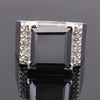 6 Ct Princess Cut Black Diamond Cocktail Ring with White Diamond Accents - ZeeDiamonds