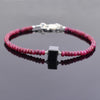 32.30 Ct, Ruby Gemstone Bracelet with Black Diamond Beads, Very Elegant - ZeeDiamonds
