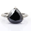 3 Ct Pear Shape Black Diamond Ring With Diamond Accents