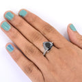 3 Ct Pear Shape Black Diamond Ring With Diamond Accents - ZeeDiamonds