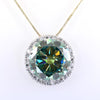 13.45 Ct Greenish Blue Diamond Pendant with Diamond Accents, 100% Certified - ZeeDiamonds