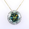 20.15 Ct Huge Greenish Blue Diamond Pendant with Diamond Accents, 100% Certified - ZeeDiamonds
