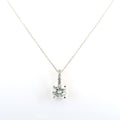 1.95 Ct Round Cut Off-White Tinge of Blue Diamond Solitaire Pendant with Accents - ZeeDiamonds