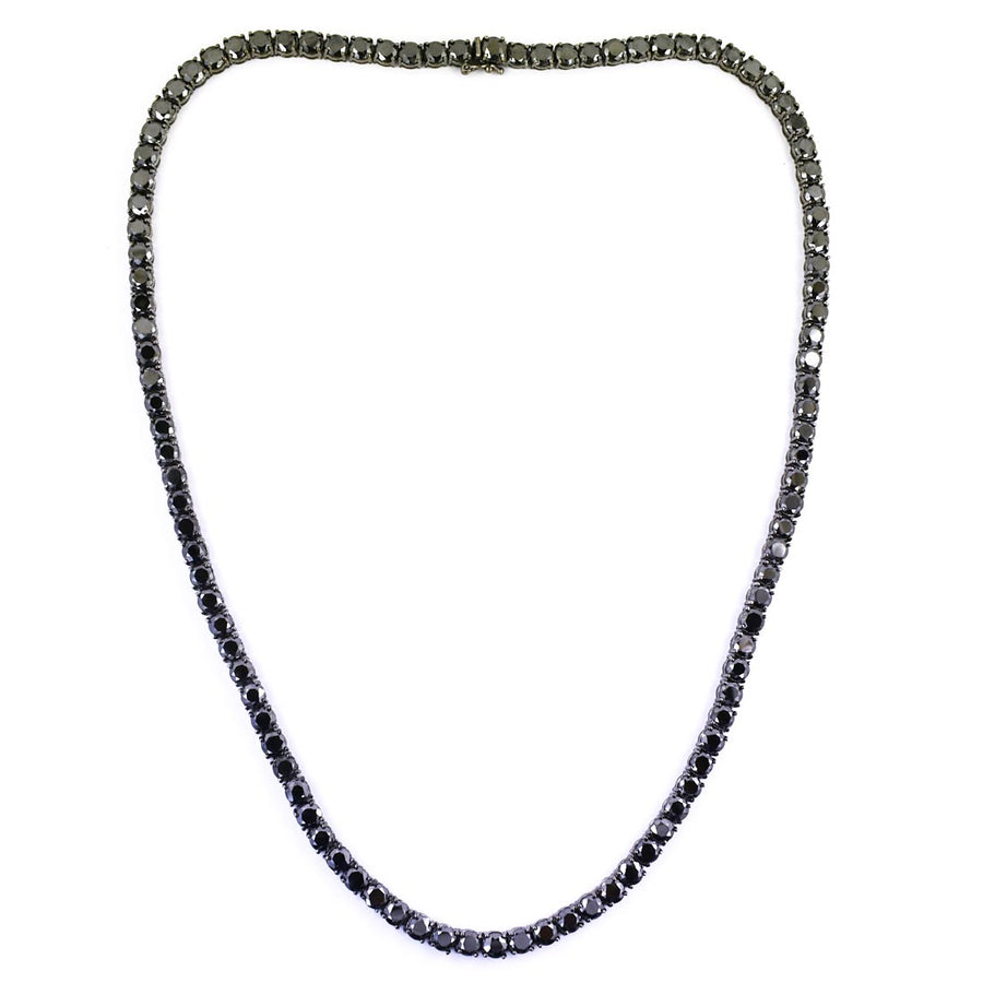Black Diamond Men's Tennis Necklace.Great Shine & Luster!100% Genuine Certified. - ZeeDiamonds