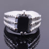 4.5 Ct Radiant Cut Black Diamond Men's Ring in White Gold Finish - ZeeDiamonds