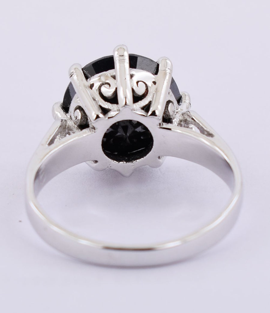 5 Cts 100% Certified Round Cut Black Diamond, Great Shine Solitaire Ring - ZeeDiamonds