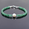 AAA Certified Emerald Gemstone & Pearl Bead Bracelet, Great Shine - ZeeDiamonds