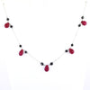 Certified African Ruby Briolites Necklace with Black Beads, Beautiful Design