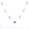 10.60 Ct Elegant Black Diamond Necklace with Ruby Gemstones- Birthday Gift