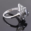 1.70 Ct Black Diamond Solitaire Designer Ring with Black Accents - ZeeDiamonds
