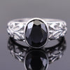 2.35 Ct Oval Shape Black Diamond Solitaire Ring with Bezel Setting - ZeeDiamonds