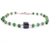 Certified 5 mm Emerald Gemstone Chain Bracelet With 7 mm Black Bead - ZeeDiamonds