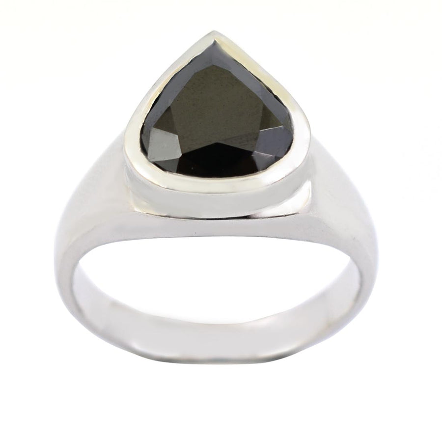 5.85 Ct Pear Shape Black Diamond Solitaire Ring in 925 Sterling Silver - ZeeDiamonds