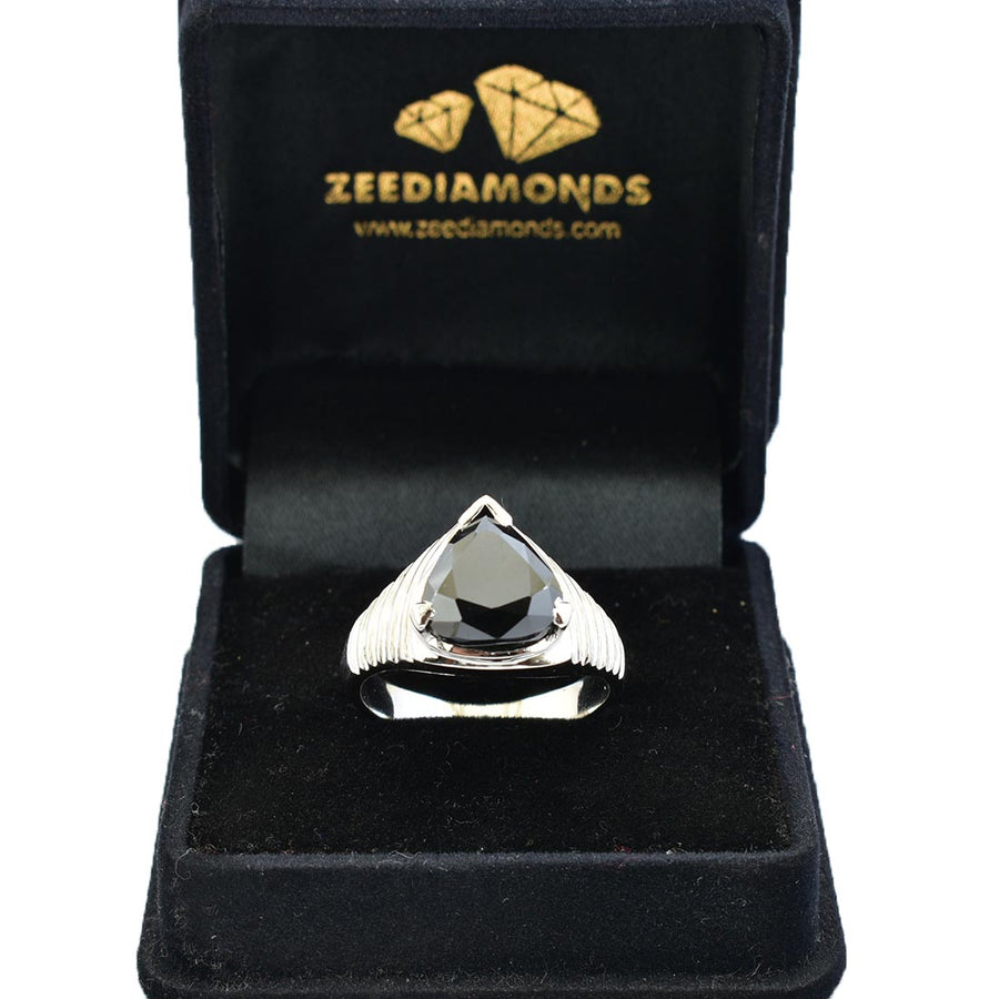 6 Ct Black Diamond Solitaire Ring in 925 Sterling Silver - ZeeDiamonds