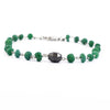 25.70 Ct Cabochon Emerald Chain Bracelet With Black Diamond Bead - ZeeDiamonds