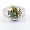 4.55 Ct AAA Quality Greenish Blue Diamond Solitaire Men's Ring