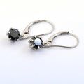 3 Ct Black Diamond Solitaire Earring In Dangler Style With 6 Prong Setting - ZeeDiamonds