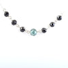 5 mm AAA Certified Round Blue & Black Diamond Chain Necklace