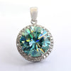 9 Ct Huge Blue Diamond Pendant with VVS White Diamond Accents - ZeeDiamonds