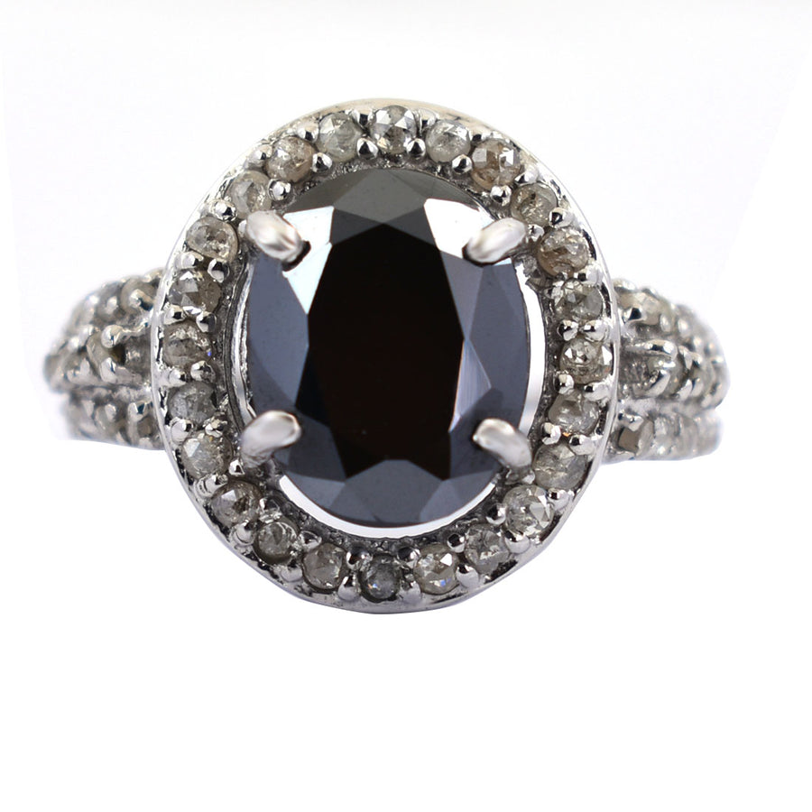 4 Ct Black Diamond Solitaire Ring With Diamond Accents - ZeeDiamonds