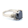 4 .5 Ct, Cushion Shape, Black Diamond Ring With Diamond Accents - ZeeDiamonds