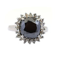 4.25 Ct Black Diamond Solitaire Designer Ring with Diamond Accents - ZeeDiamonds