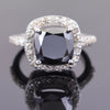 4.15 Carat Black Diamond Solitaire with Accents Designer Ring