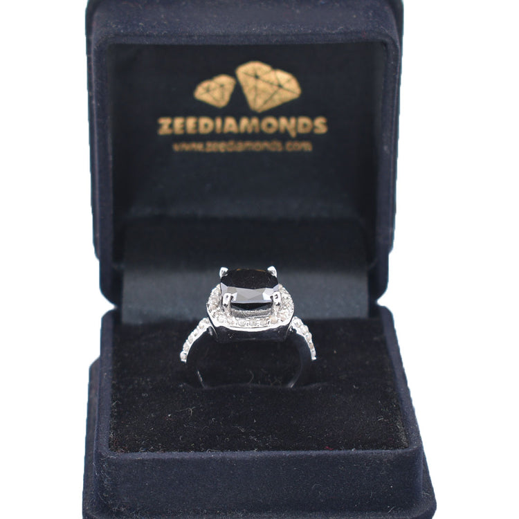 4 Ct, Cushion Shape Black Diamond Solitaire Ring With Diamond Accents