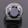 Huge & Rare, 11 Ct Black Diamond Solitaire Ring With Diamond Accents