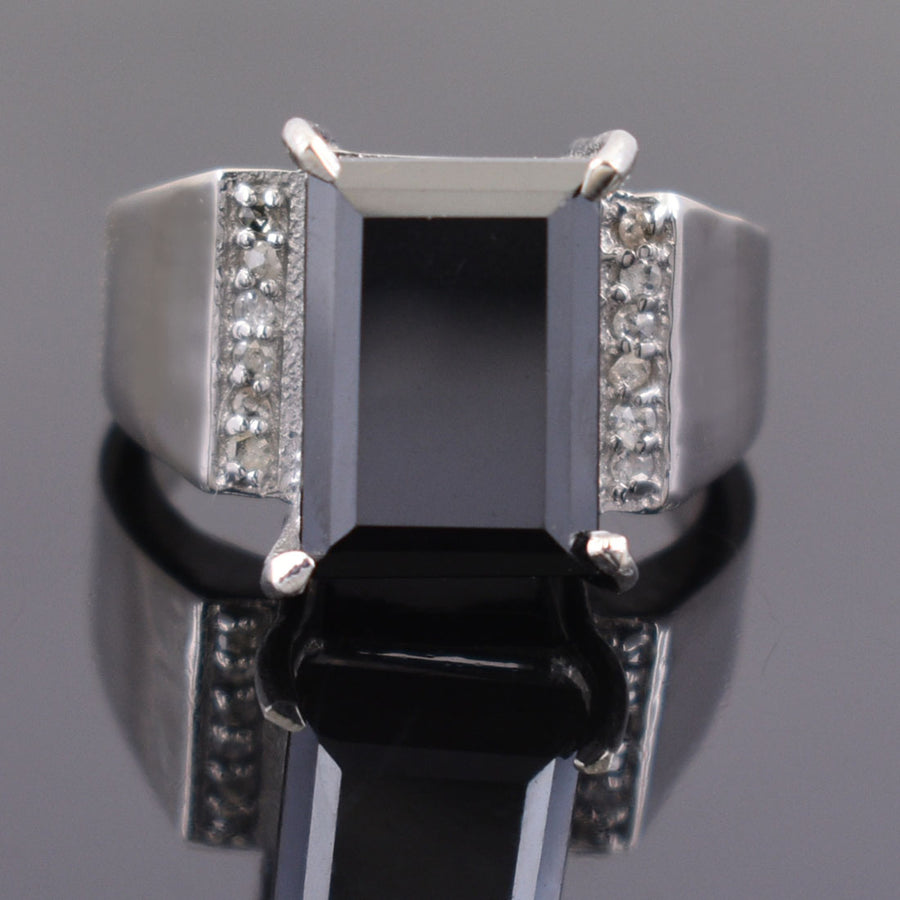 10 Ct Rectangle Shape, Black Diamond Ring With Diamond Accents - ZeeDiamonds