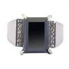 10.05 Cts Princess Cut Black Diamond Solitaire with Accents Designer Ring - ZeeDiamonds