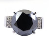 10.60 Ct Oval Shape Black Diamond Solitaire Cocktail Ring with Diamond Accents - ZeeDiamonds