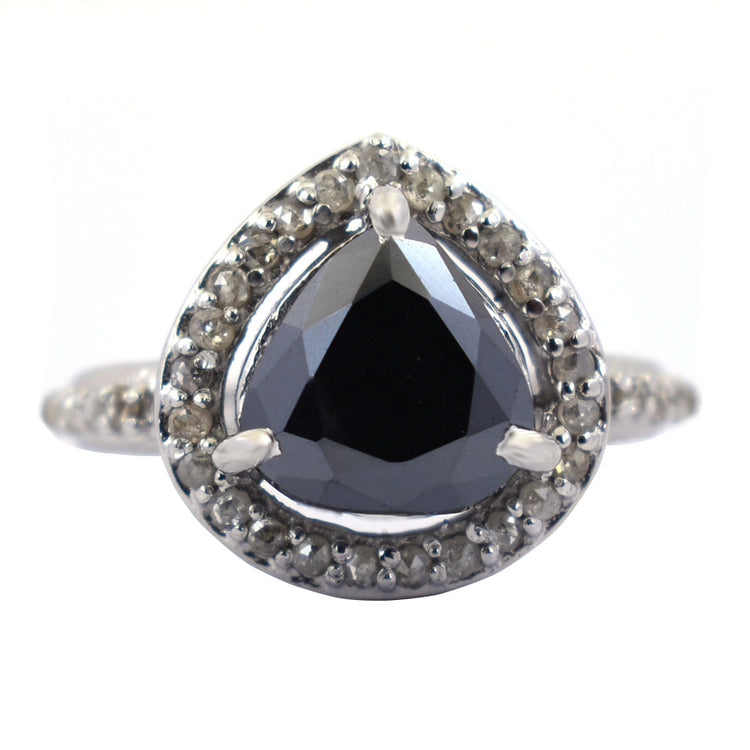 3.5 Ct, Trillion Shape, Black Diamond Solitaire Ring With Diamond Accents