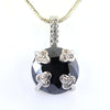 12 Ct Brilliant Cut Black Diamond Designer Pendant with Diamond Accents - ZeeDiamonds