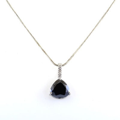 9 Ct, Black Diamond Solitaire pendant With Diamond Accents
