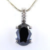 7 Ct Oval Shape Black Diamond Designer Pendant with Diamond Accents - ZeeDiamonds