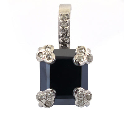 6 Ct, Black Diamond Solitaire pendant With Diamond Accents