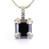 6.50 Ct Radiant Cut Black Diamond Designer Pendant with Diamond Accents - ZeeDiamonds