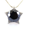 10 Ct, Black Diamond Solitaire pendant With Diamond Accents