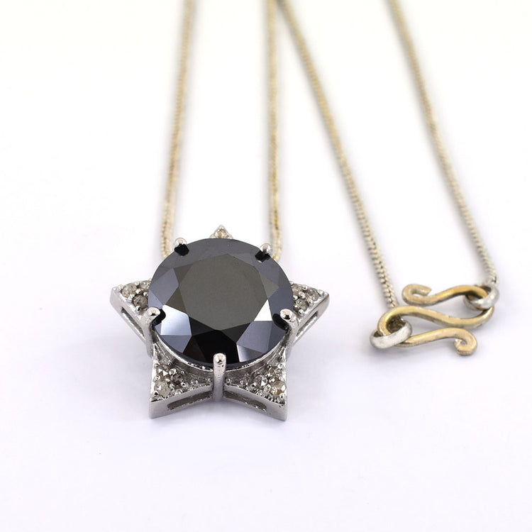 10 Ct, Black Diamond Solitaire pendant With Diamond Accents - ZeeDiamonds