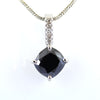 4 Ct, Black Diamond Solitaire pendant With Diamond Accents