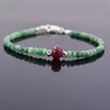 34.55 ct Emerald Gemstone & Ruby Bead Bracelet with Silver Finding - ZeeDiamonds