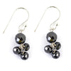 Certified Black Diamonds Dangler Silver Earrings- Very Elegant, Earth Mined