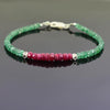 5 mm Certified Ruby & Emerald Gemstone Bracelet with Silver Finding - ZeeDiamonds