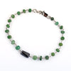 4-5 mm Black Diamond with Emerald Beads Silver Were Bracelet For Women's