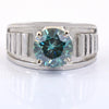 2.15 Ct AAA Certified Blue Diamond Solitaire Men's Ring, Great Luster