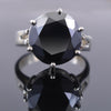 9 Ct Round Cut Black Diamond Solitaire Ring in 925 Sterling Silver - ZeeDiamonds