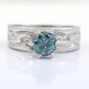 1.25 Ct AAA Certified Blue Diamond Ring, Beautiful Band Design