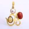 Pearl, Yellow Sapphire And Coral Gemstone Aum Shape Astrological Pendant